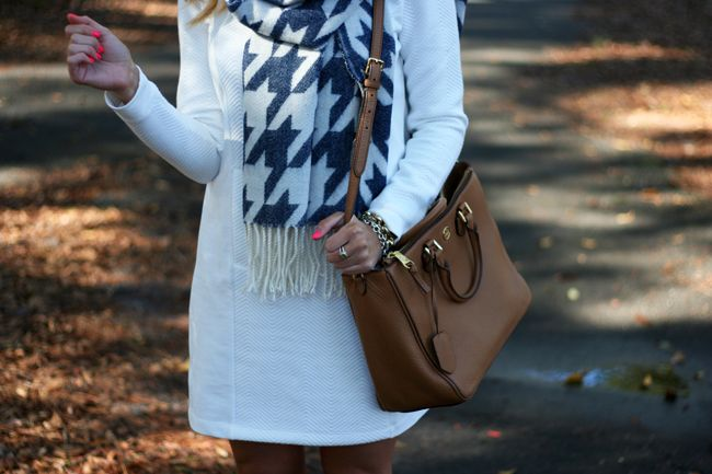 Outfit | Winter Houndstooth Scarf with loft white sweatshirt dress