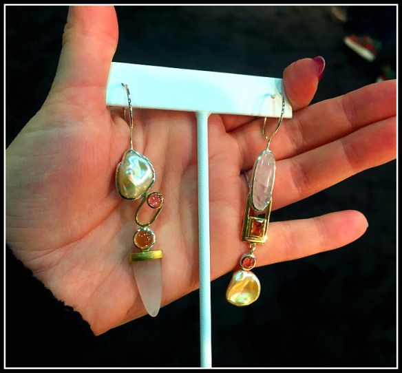 Fabulous asymmetrical earrings by Janis Kerman with pearls and stones