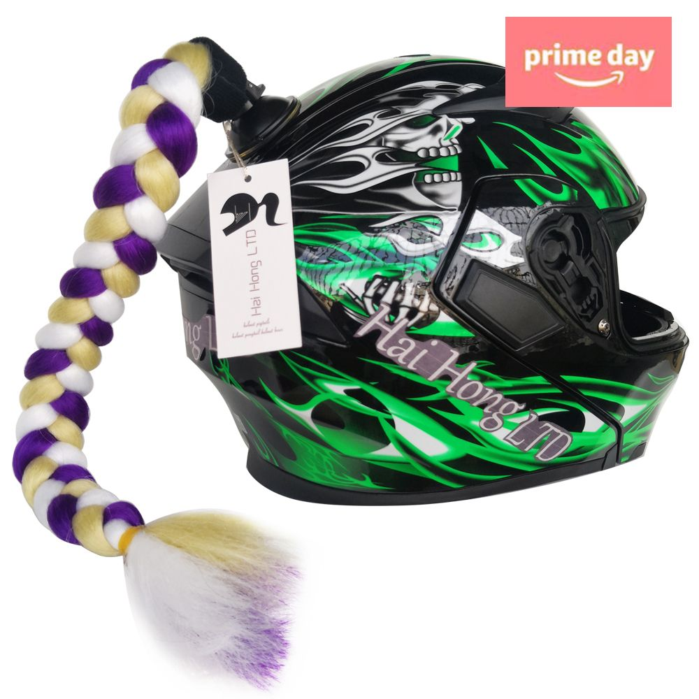 Ombre Black to Fuchsia B Blesiya Helmet Hair Helmet Pigtails Gradient Ramp Helmet Braids Ponytail with Suction Cup with Bowknot for Motorcycle Bike