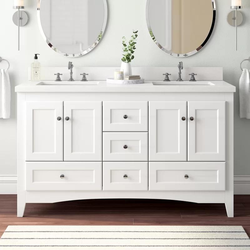 Birch Lane Prentice 60 Double Bathroom Vanity Set In 2021 Double Bathroom Vanity Double Vanity Bathroom Single Bathroom Vanity