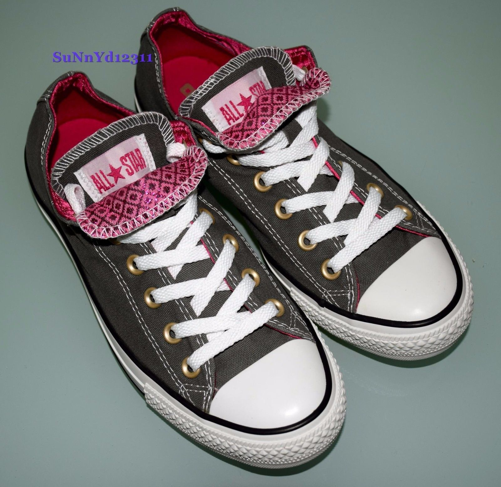 Converse All Star Chuck Taylor Low Top Double Tongue 8 Gray Pink Sparkle  694615945