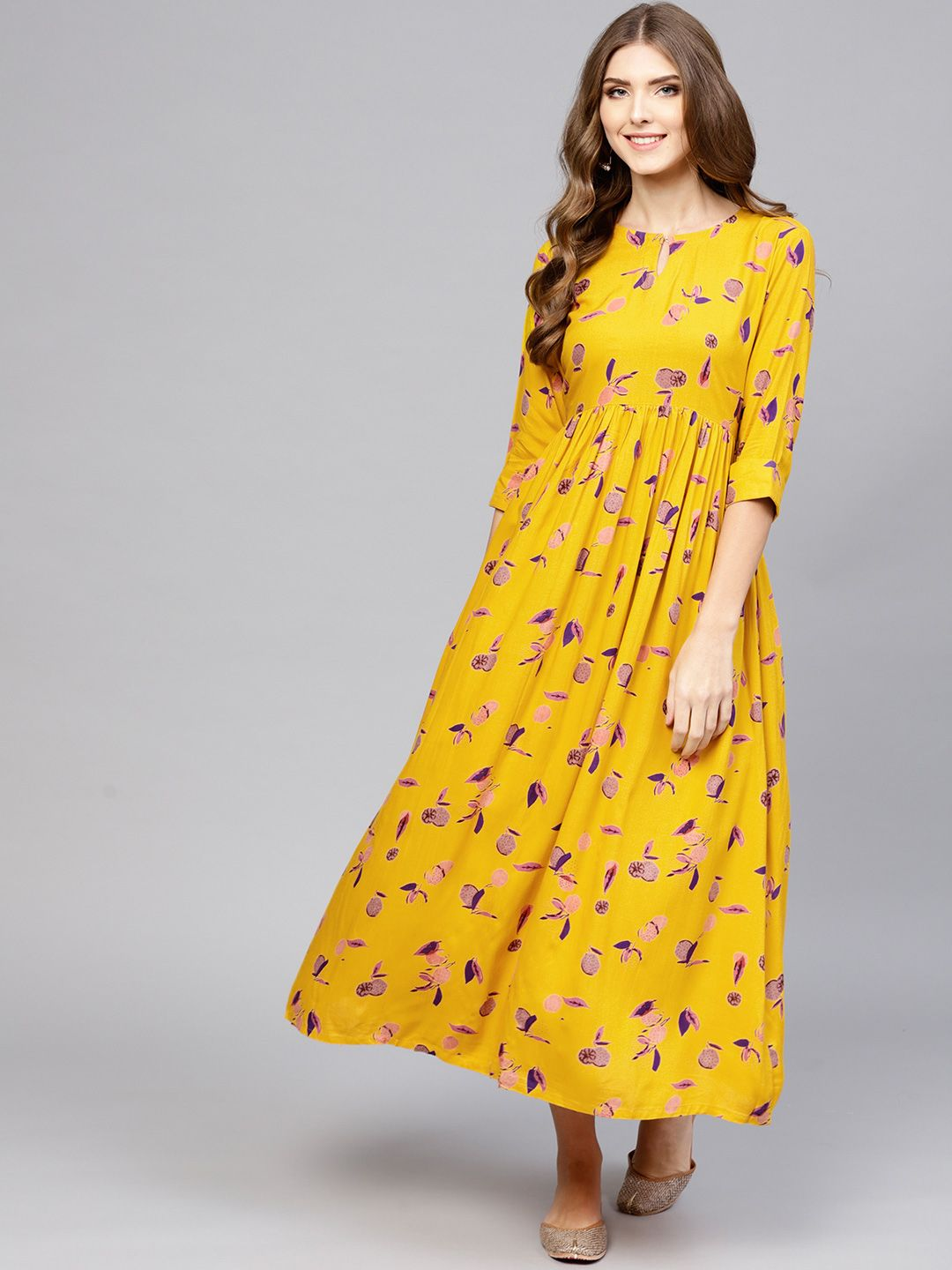 07bb1c9c26 Buy Libas Women Yellow Printed Maxi Dress - Dresses for Women 7719129 |  Myntra