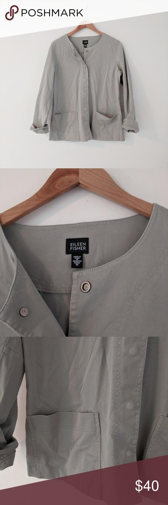 Eileen Fisher Grey Snap Button Utility Jacket Eileen Fisher Jacket Eileen Fisher Utility Jacket [ 1740 x 580 Pixel ]