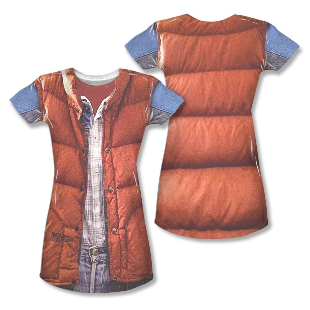 Back To The Future Marty Mcfly Vest Costume All Over Ladies Junior