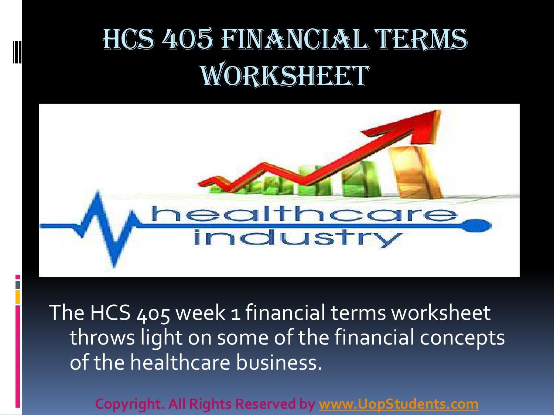 Hcs 405 Week 1 Health Care Financial Terms Worksheet