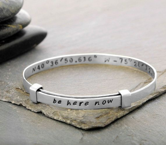 bronze with latitude coordinates bracelet gold cuff products your solid own longitude niciart