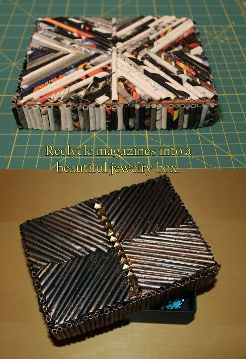 Jewelry box made from recycled magazines and cardboard box Great