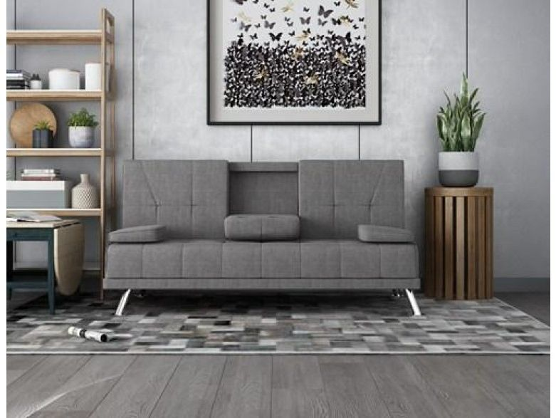 H4home Luxury Fabric Manhattan Sofa Bed Click Clack Recliner 3 Seater Couch Grey Sofa Bed Sofa Grey Couches