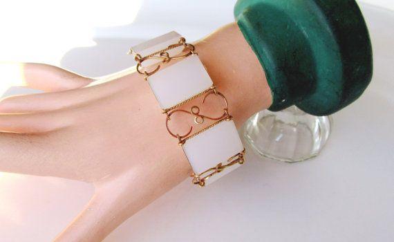 Bracelet White Panel Link Trimmed In Gold by SunburyVintageStore