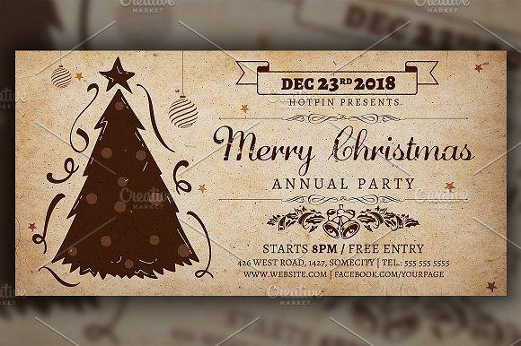 Vintage Christmas Invitation Flyer by Hotpin on @creativemarket