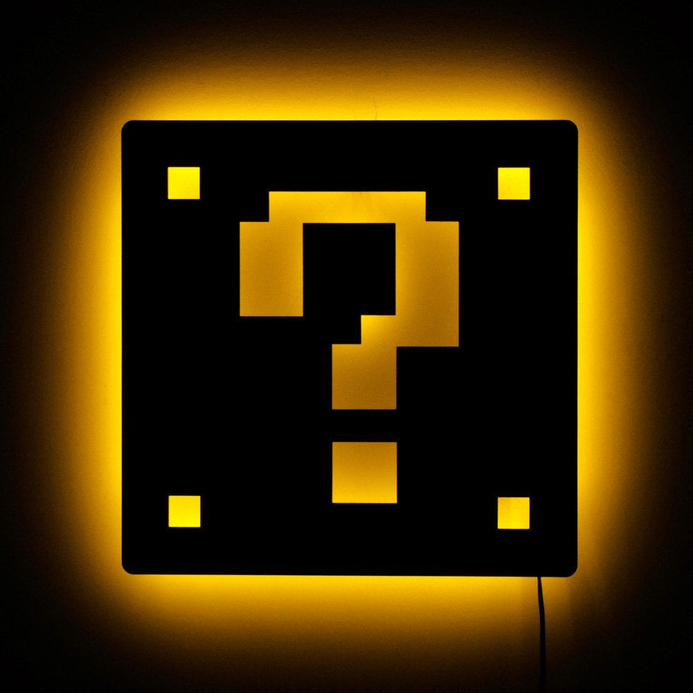 Mario Lamp - Mario Brother Question Block Wall Light and Gamer Decor ...
