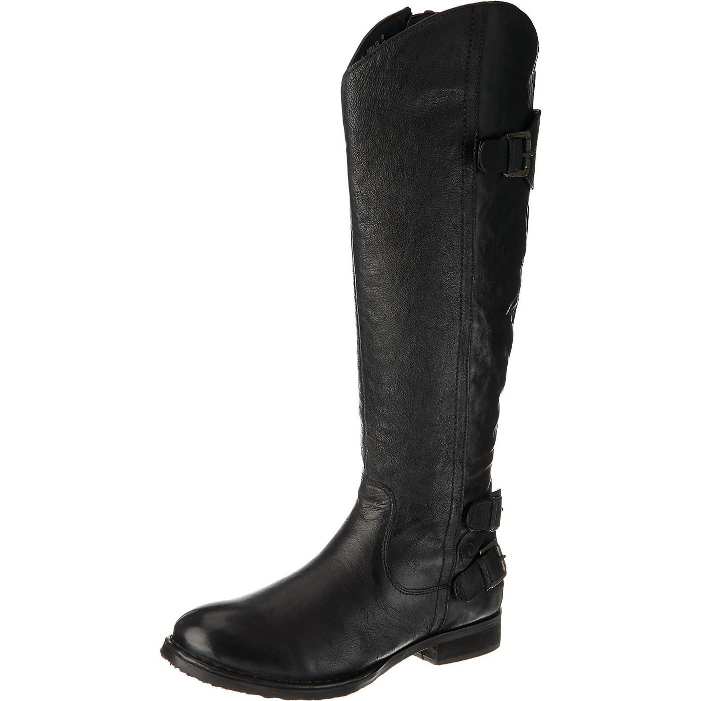 Schlicht schöne bugatti Stiefel für die kalte Jahreszeit. Das griffige Obermaterial besteht aus Echtleder, das natürlich genarbt ist.  - Verschluss: Reißverschluss - innen warm gefüttert - Schafthöhe: 40 cm (gemessen an Gr. 37) - Schaftweite: 40 cm (gemessen an Gr. 37) - Absatzart: Block - Absatzhöhe: 2,5 cm  Obermaterial: Leder (Nappaleder) Futter: Textil Decksohle: Textil Laufsohle: Sonstiges...