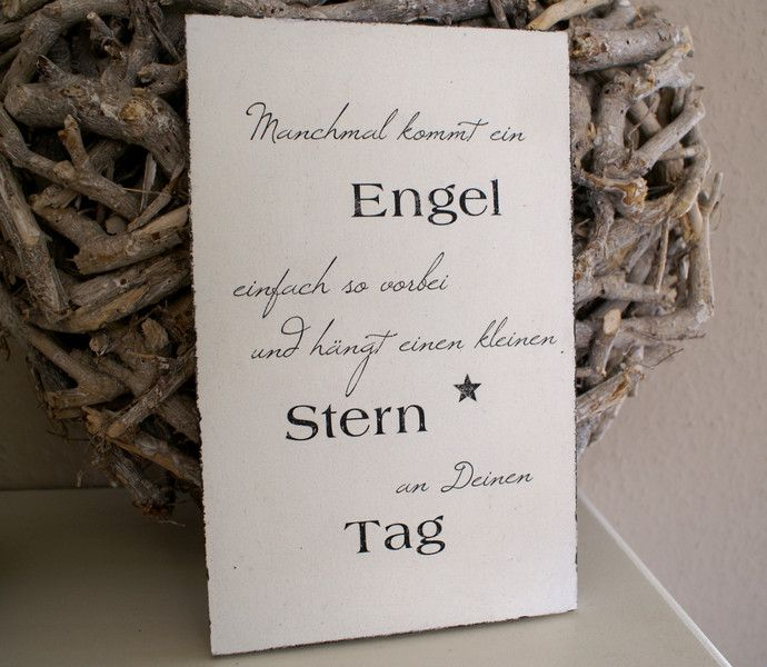 schild holz manchmal kommt ein engel shabby von white living art auf angels. Black Bedroom Furniture Sets. Home Design Ideas