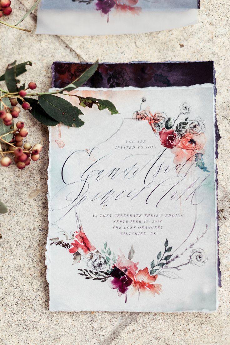Romantic Fine Art Wedding Inspiration | Floral wedding stationery ...