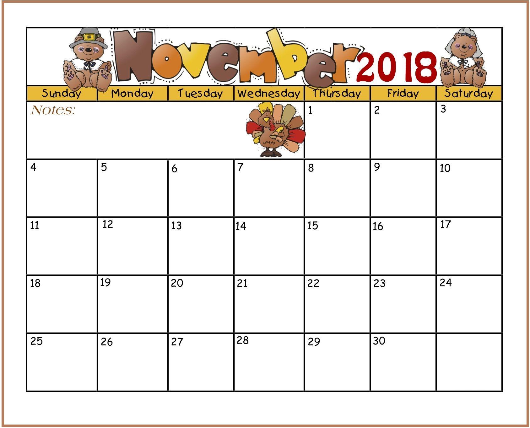 Cute November 2018 Calendar Thanksgiving Day