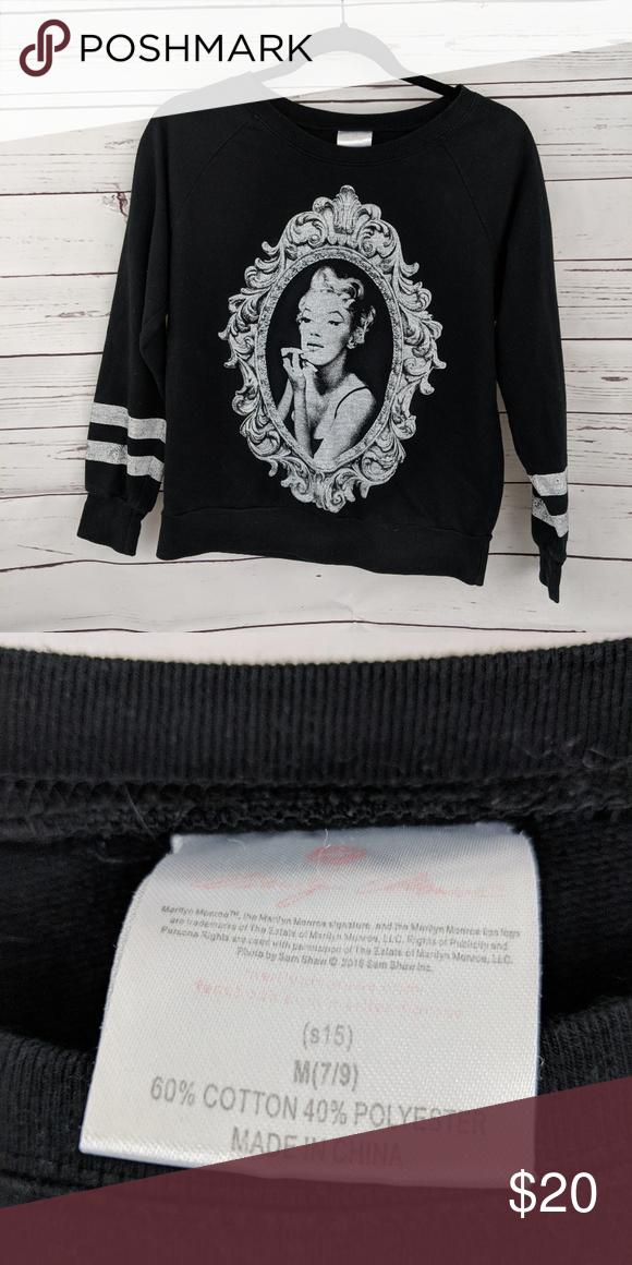 84b1953f673 Marilyn Monroe vintage sweatshirt Very light in weight vintage Marilyn Monroe  sweatshirt. Size medium. Has cute distressed stripes on the sleeves.