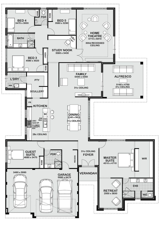 Floor Plan Friday 5 Bedroom Entertainer Dream House Plans