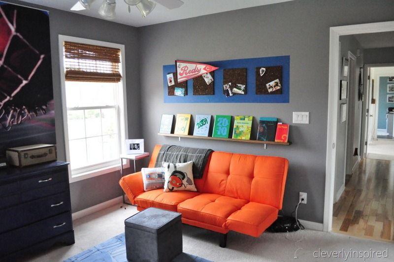 Boys Gray And Orange Bedroom   Reveal (decorating Boys Room)