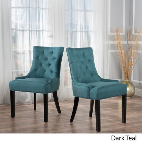 Andrews Dark Teal Fabric Dining Chairs