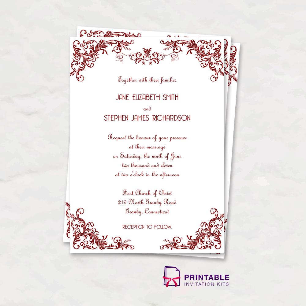 Wedding Invitation Card Template Free Download: Vintage Invitation With Art Deco