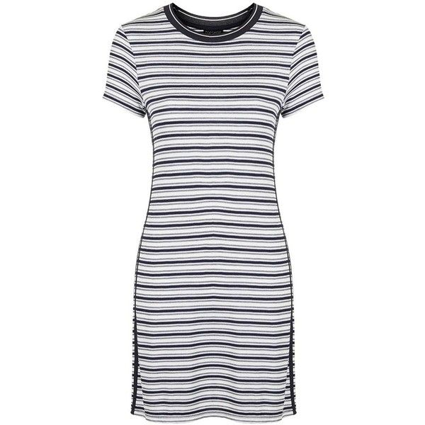 41c70aba244 Topshop Side Stripe T-Shirt Dress ($40) ❤ liked on Polyvore featuring  dresses, tee shirt dress, short sleeve dress, jersey dress, striped t shirt  dress and ...