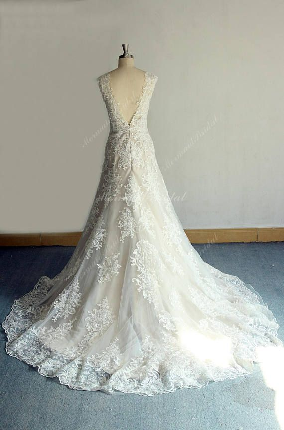Vintage Trumpet Wedding Dress , French Lace Wedding Dress, Open Back ...