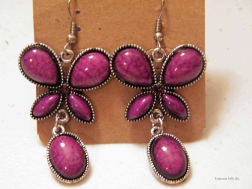 Tibetan Silver, Butterfly Resin & Crystal Beaded Dangle Earring-NEW(your choice)