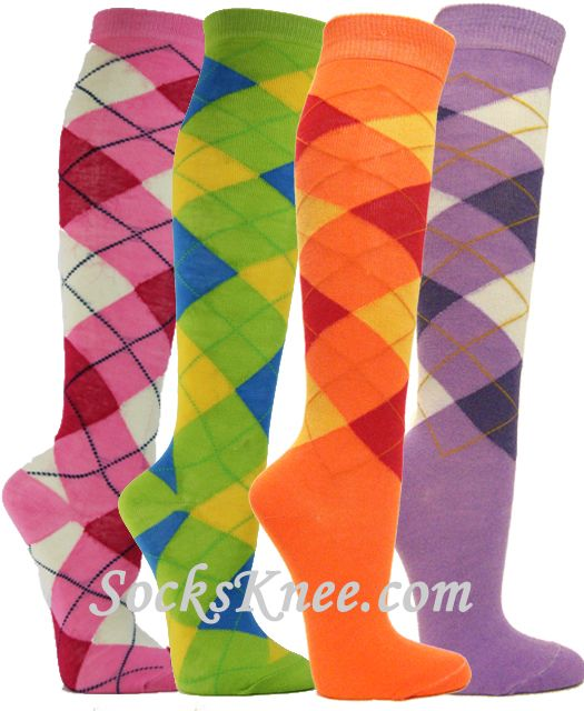 8f2ca1ecb Argyle Knee socks for Women
