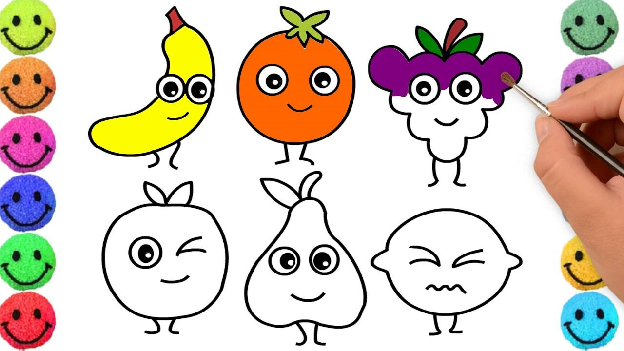 Fruits Drawing For Kids Using Simple Shapes Step By Step Fruits