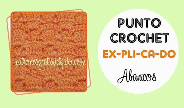 Puntada crochet variante de abanicos con explicacion paso a paso