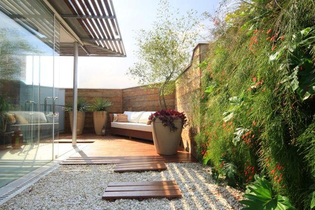 terraza con vegetacin tropical y jardn vertical