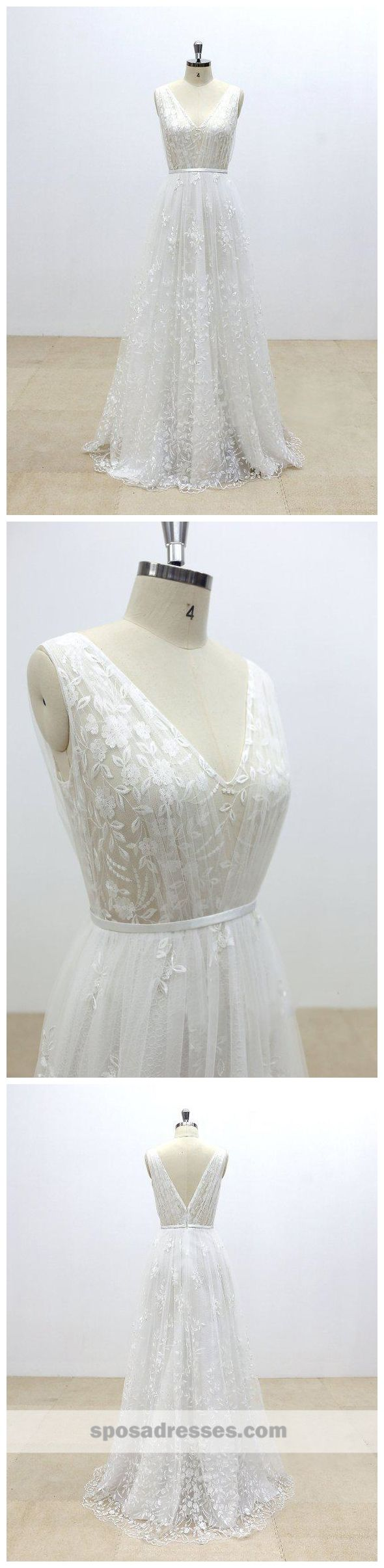 Simple and cheap wedding dresses   Simple V Neck Lace Cheap Aline Wedding Dresses Online WD
