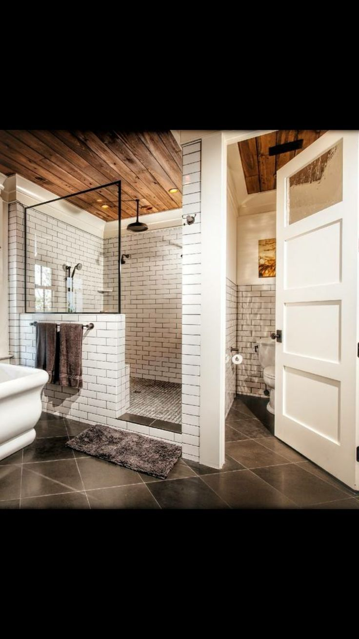 Photo of Modern bathroom with an open shower