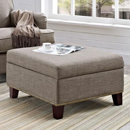 Terrific Grayson Linen Square Ottoman With Nailhead Trim Gray Gmtry Best Dining Table And Chair Ideas Images Gmtryco