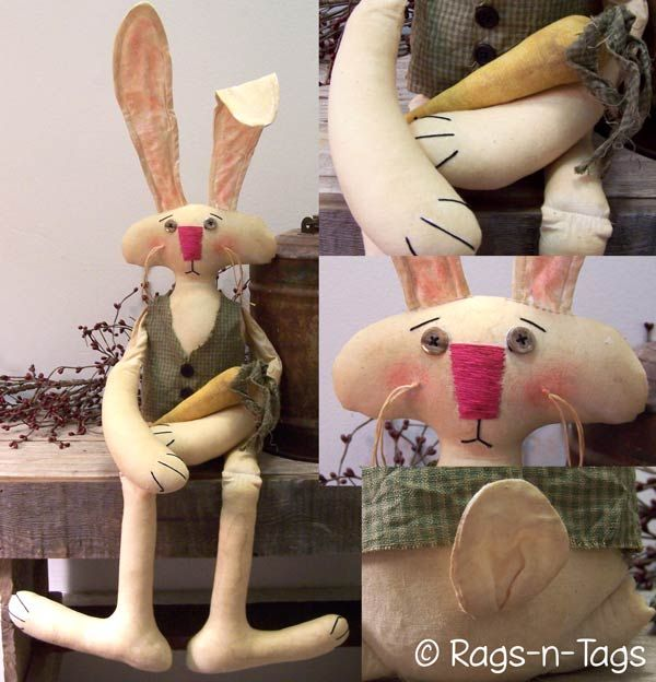 SEWING Spring decor original by Dumplinragamuffin#62 Easter decor PATTERN mailed pattern Easter bunny with carrot