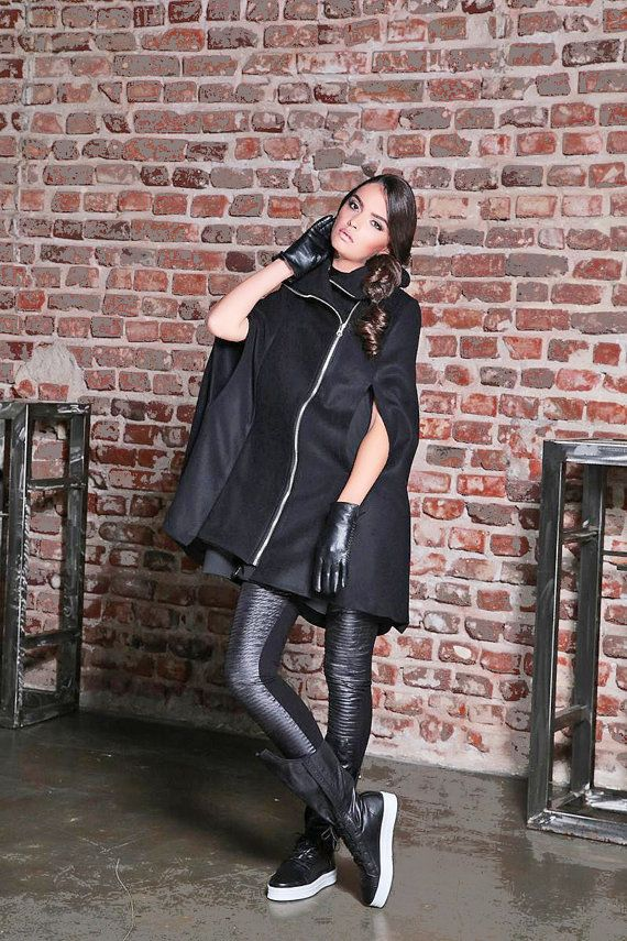 d949af18bd1 Winter Cape Coat  Black Poncho Cape  Womens Cape Coat  Wool Cape Coat  Cape  Jacket  Plus Size Goth Coat  Womens Outerwear  Steampunk Coat
