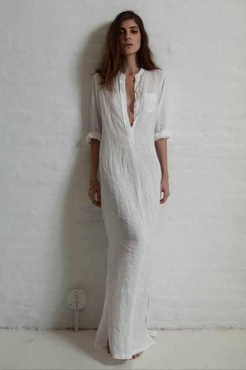 5f2d7dff8f1 Extra long white linen shirt dress.