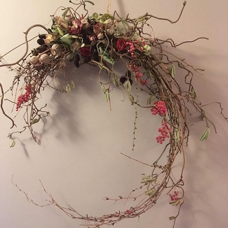 Magical Dried Flower Wall Hanger Wreath Natural Woodland Etsy Dried Flower Wreaths Dried Flower Arrangements Dried Flowers