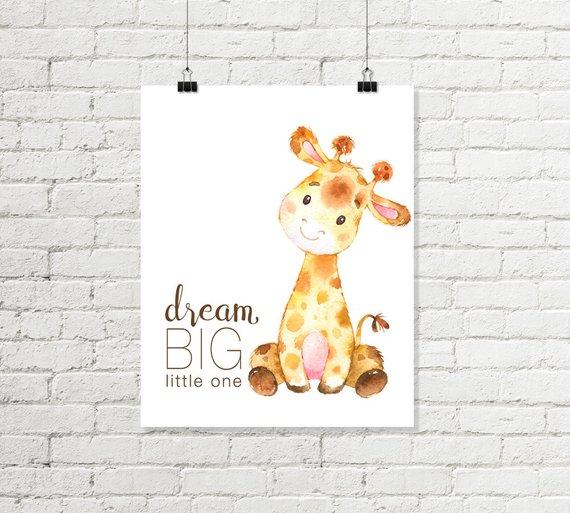Dream Little One Printable Wall Art Baby Giraffe Safari
