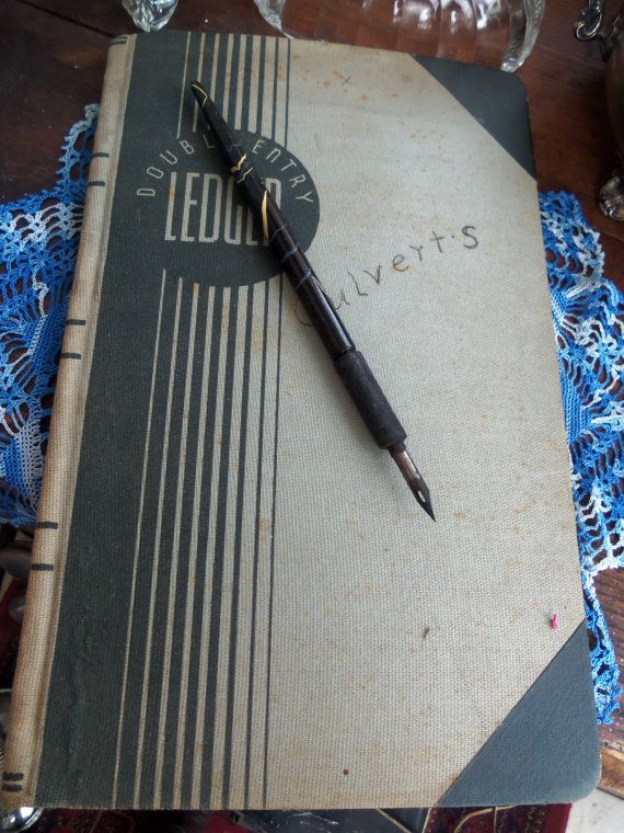 Vintage 1940s Double Entry Ledger from by rustysecrets on Etsy, $15.00