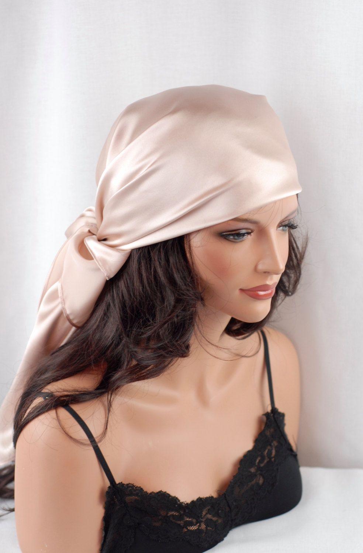Silk Charmeuse Scarf, Sleep or Bandana Scarf Sizes, Blush