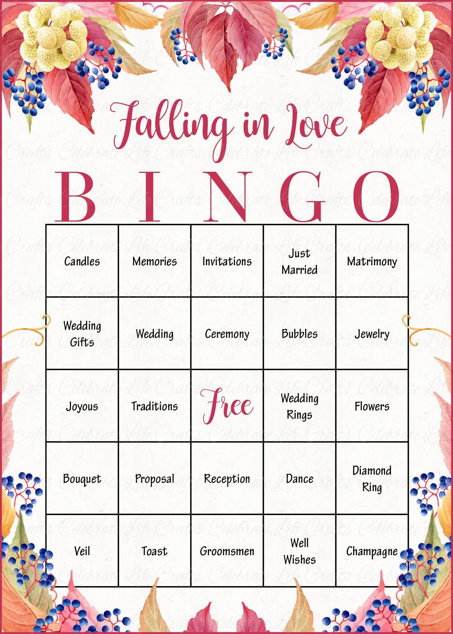 falling in love bingo cards  printable download