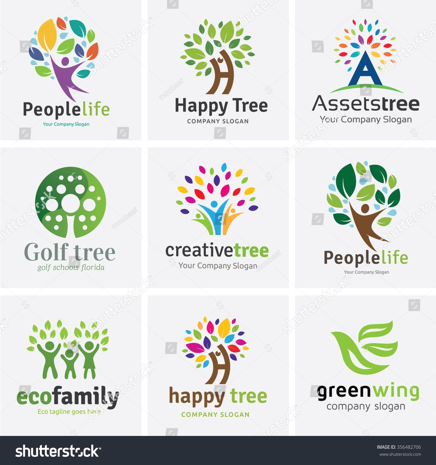 Tree logo with people design set for Vector logo template