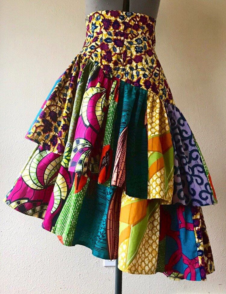 Spring Banner Colorful Mixed Print Patchwork Asymmetrical Tier Skirt in Beautiful and Exuberant African Wax Print 100% Cotton #nigeriandressstyles