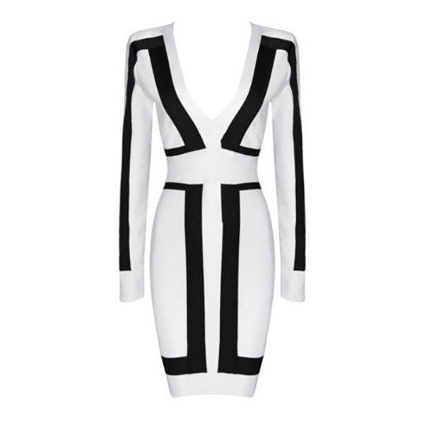 Always On Time White Black Color Block Bandage Long Sleeve Plunge V... ($125) ❤ liked on Polyvore featuring dresses, long sleeve dress, long sleeve bandage dress, long sleeve short dress, bodycon bandage dress and long-sleeve mini dress