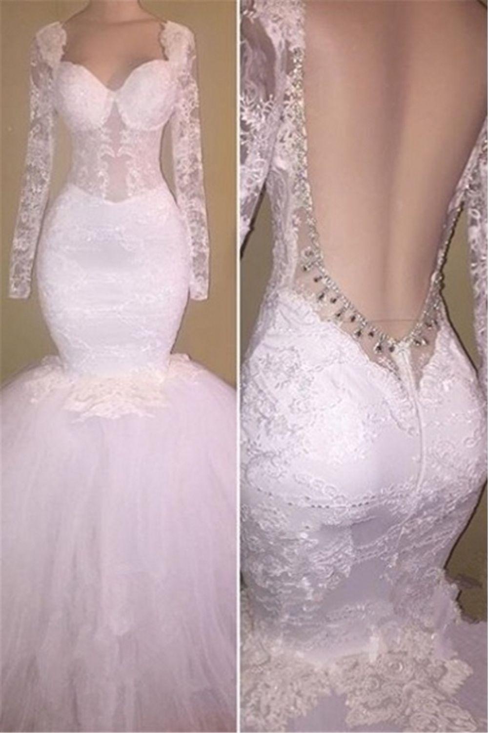 Long sleeves lace prom dresses backless white mermaid evening
