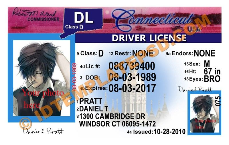 This Is Connecticut USA State Drivers License PSD Photoshop - Ct state in usa