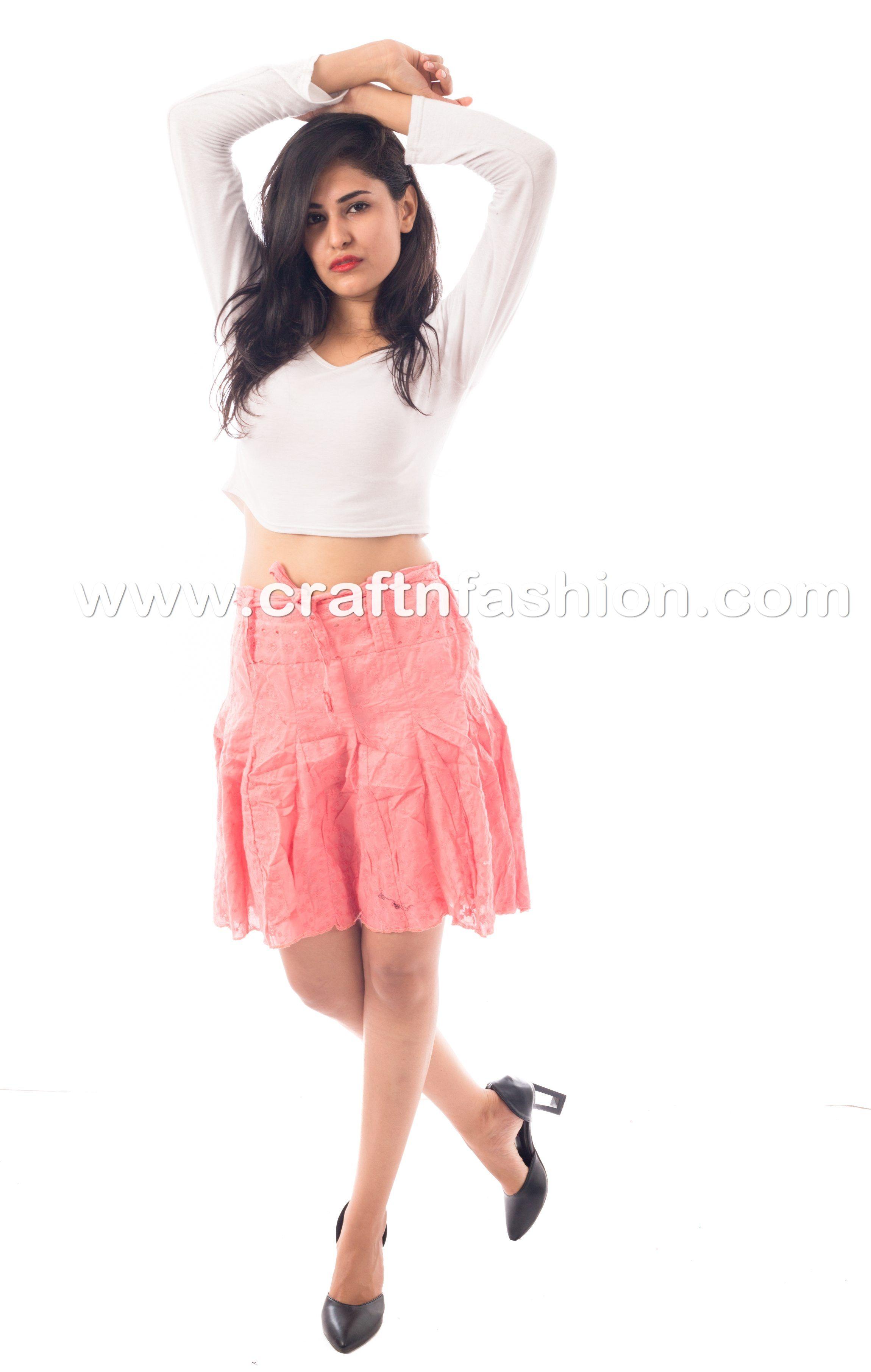 c9161faff74e Chikankari Cotton summer Wear Short Skirt - Girls' Mini Skirt  #Craftnfashion #LatestDesigner #FashionWearSkirt #CottonSkirt  #ChikankariSkirt #HakobaSkirt ...