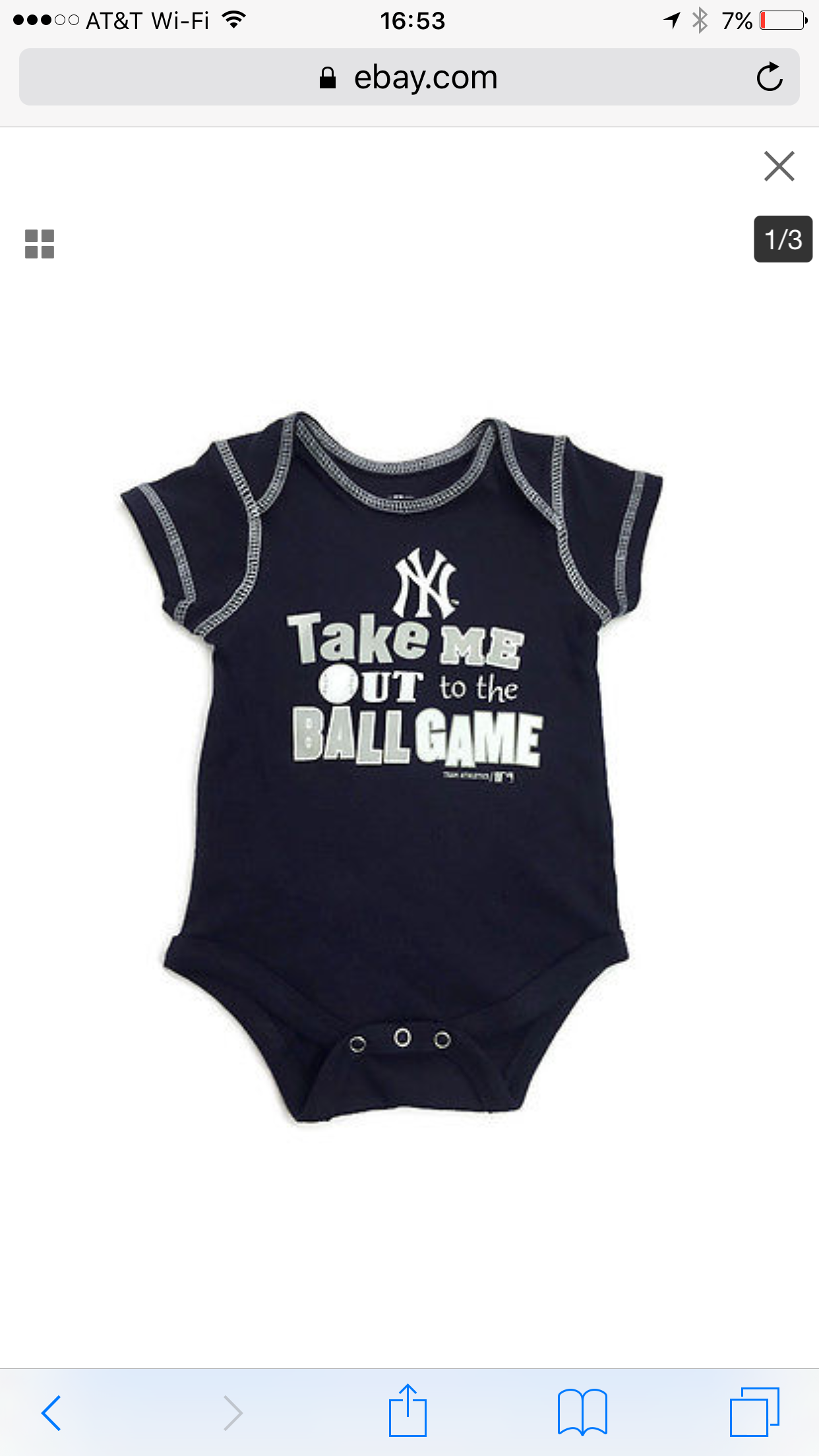 Take Me Out To The Ball Game onesie Yankees team pin strips