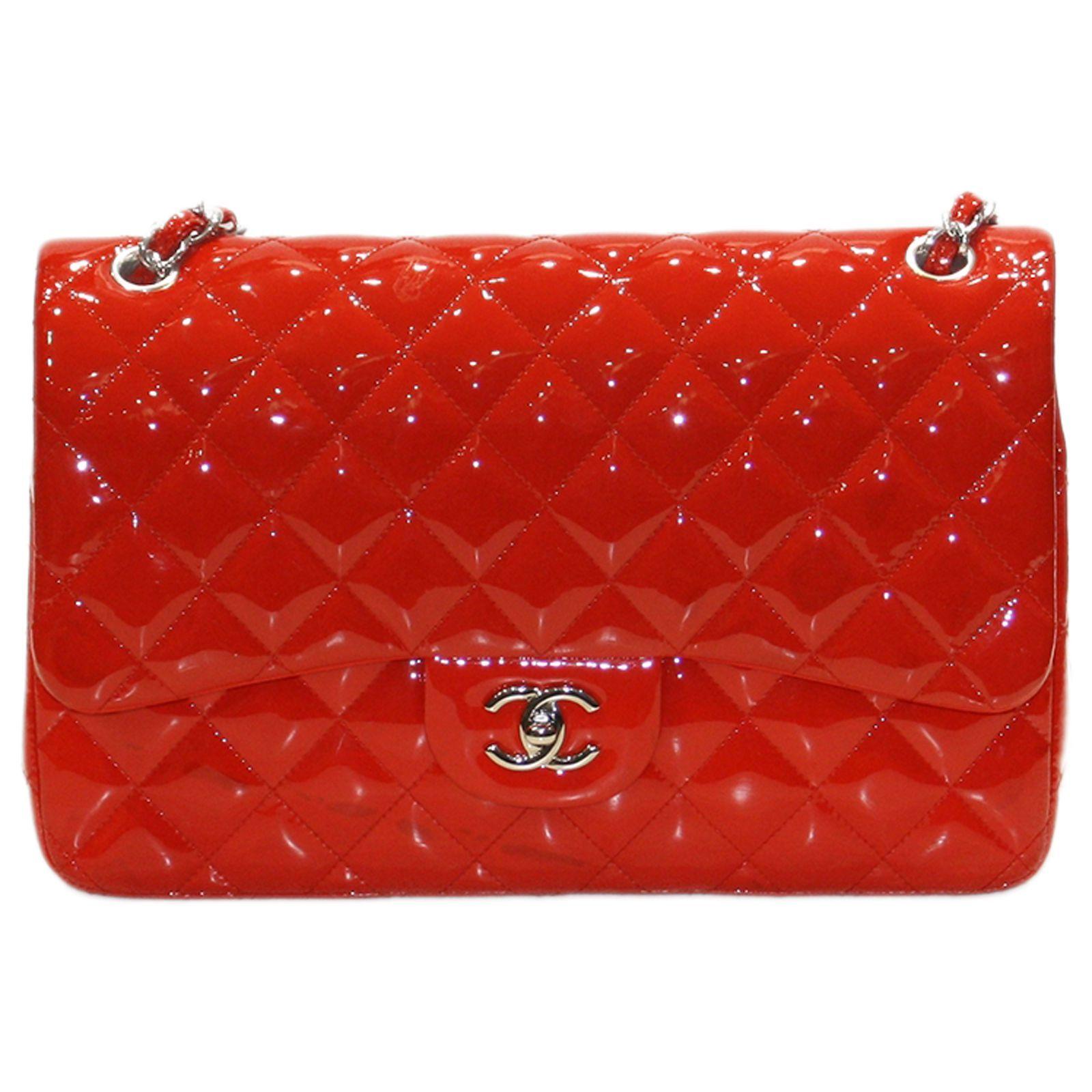 88b11d841a973e Sac porté épaule Chanel Jumbo Rouge Cuir verni d'occasion réf ...